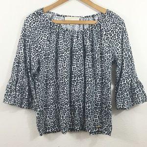 MICHAEL KORS Cheetah Print Bell Sleeve Shirt